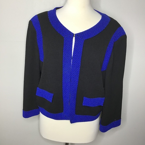St. John Black Blue Cropped Jacket Sz 16